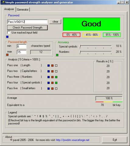 Password strength analyser and generator 0.9